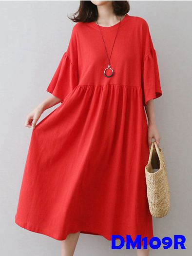 (DM109R) Maternity Dress - Red