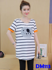 (DM113) Maternity shirt - Stripe Dog