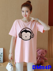 (DM114P) Maternity Shirt - Monkey Pink
