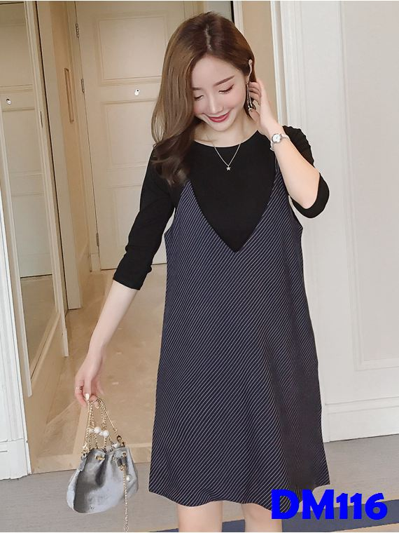 (DM116) Maternity Dress Set - Three-quarter Sleeve