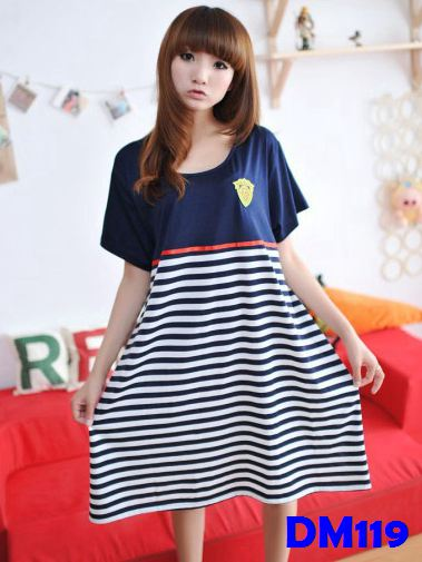 (DM119) Maternity Dress - Half stripe