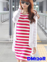 (DM120R) Maternity Dress Set - Red Stripe