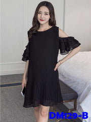 (DM129B) Maternity Dress - Chiffon Black