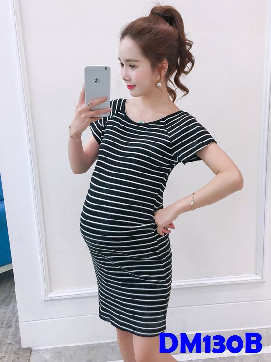 (DM130B) Maternity Stripe Midi T-shirt Dress - Black