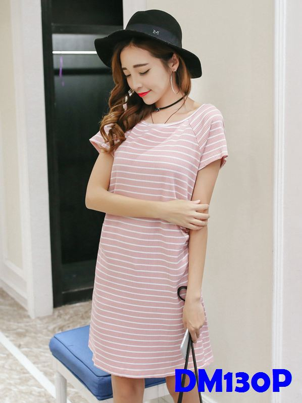(DM130P) Maternity Stripe Midi T-shirt Dress - Pink