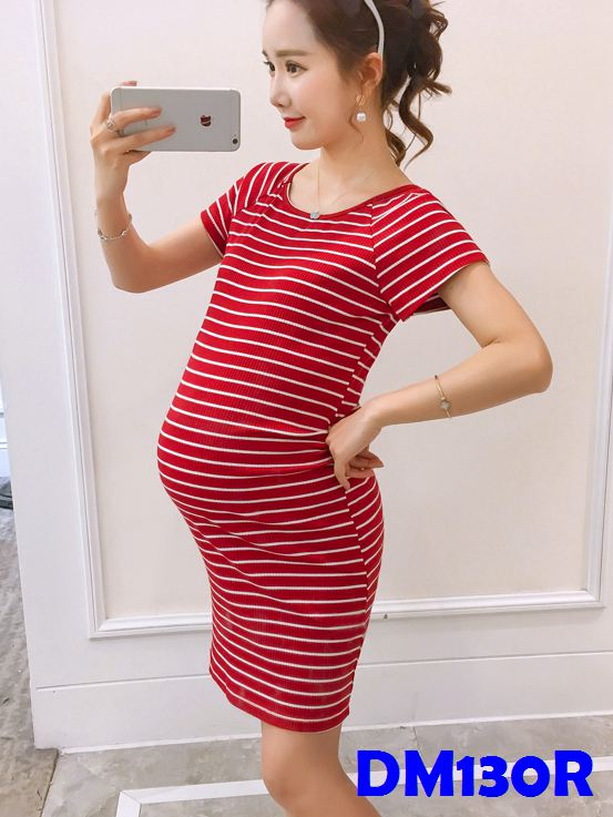 (DM130R) Maternity Stripe Midi T-shirt Dress - Red