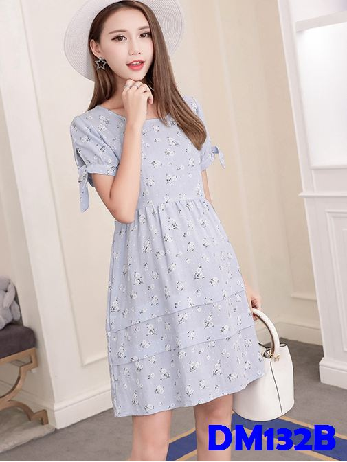 (DM132B) Nursing Dress - Blue