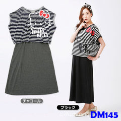 (DM145B) Maternity Two-pieces Dress - Black