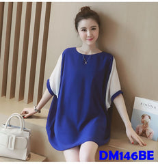 (DM146BE) Maternity Chiffon Top - Blue
