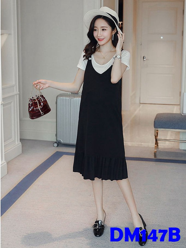 (DM147B) Maternity Two-pieces Dress - Black