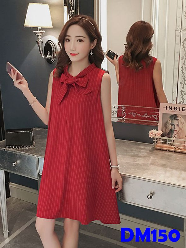 (DM150) Maternity Midi Striped Dress - Red