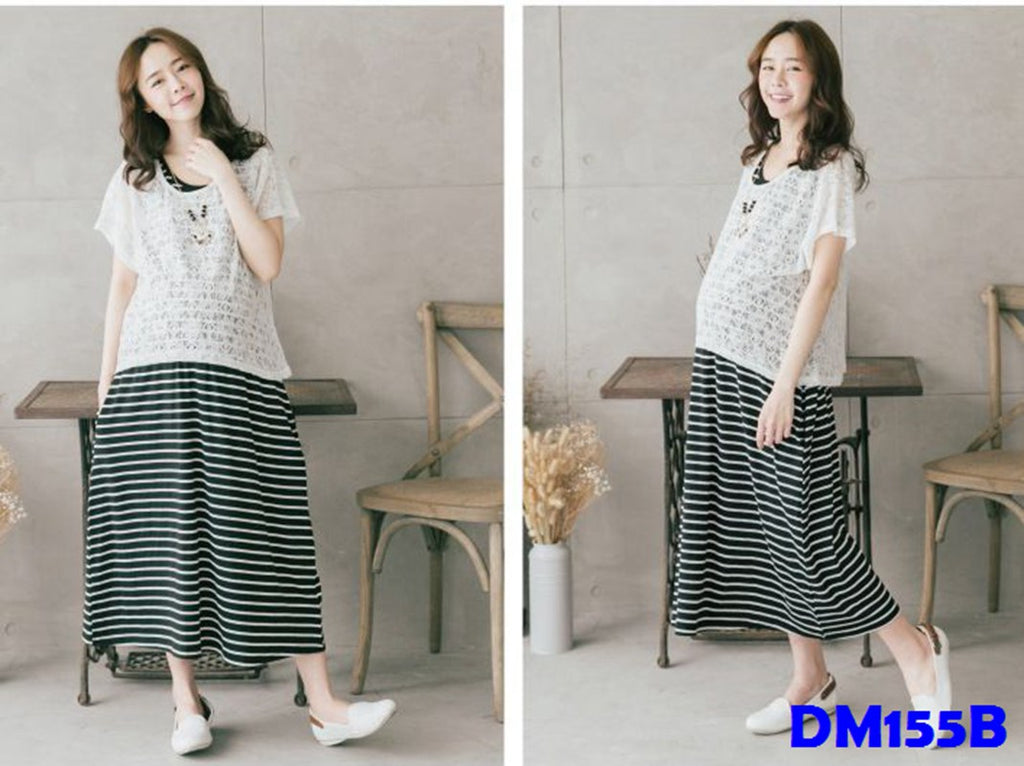 (DM155B) Maternity Two-Pieces Dress - Black