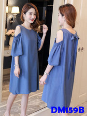 (DM159B) Maternity Shoulder-Shift Dress - Blue