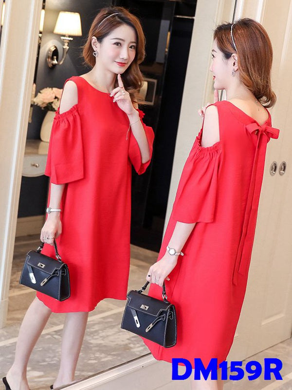 (DM159R) Maternity Shoulder-Shift Dress - Red