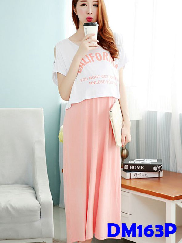 (DM163P) Maternity Two-Pieces Dress - Pink