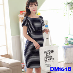 (DM164B) Nursing Dress - Stripes (Black)