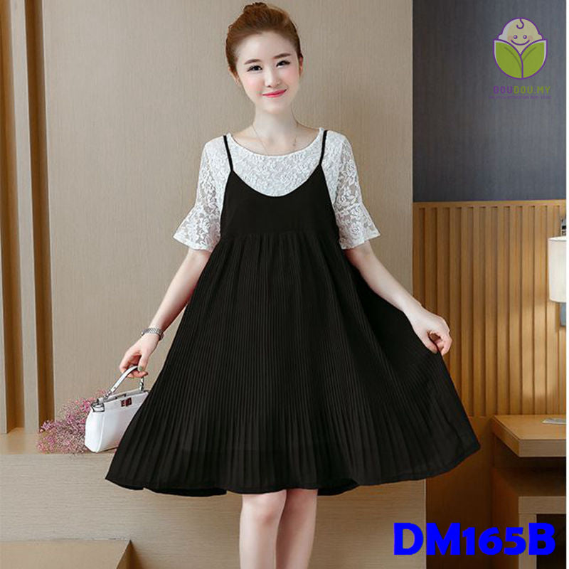 (DM165B) Maternity Dress - Lace - Black