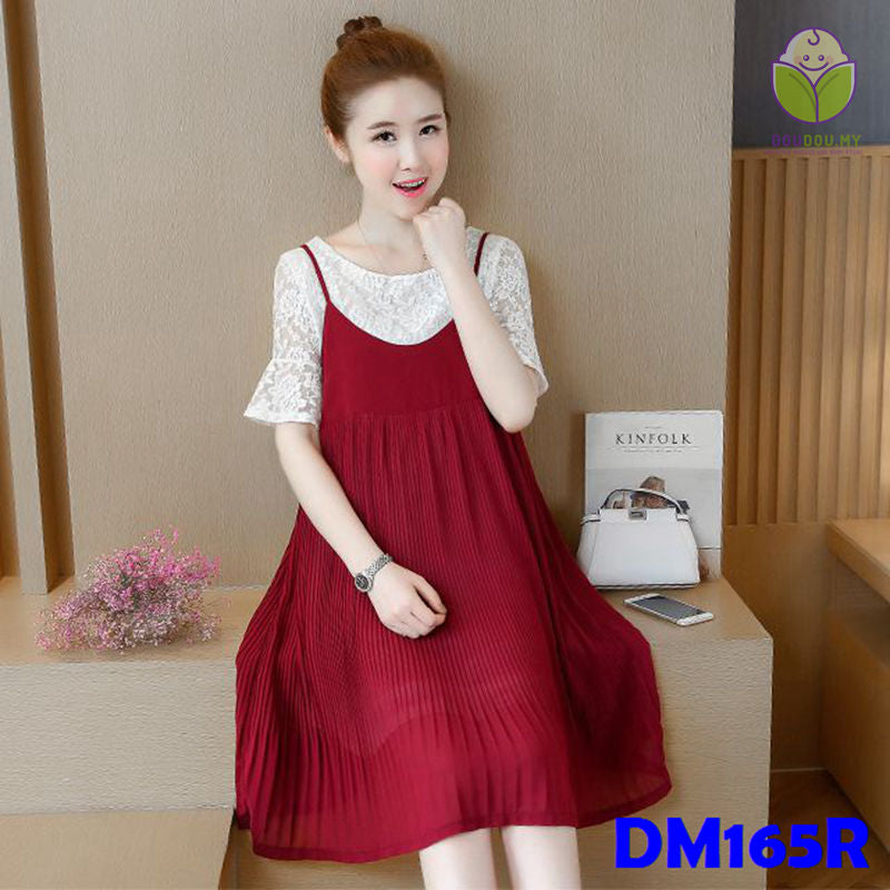 (DM165R) Maternity Dress - Lace - Red