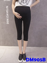 (DM905B) Maternity Calf-length Leggings - Black