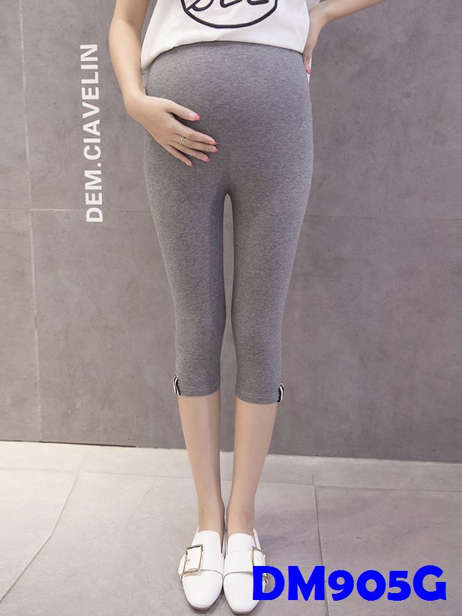 (DM905G) Maternity Calf-length Leggings - Grey