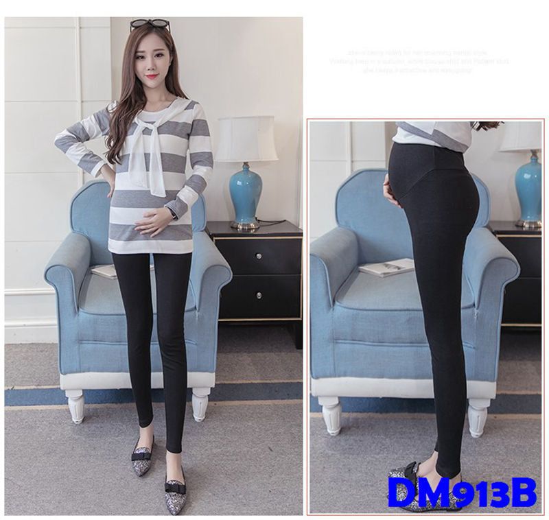 (DM913B) Maternity Long Leggings - Black