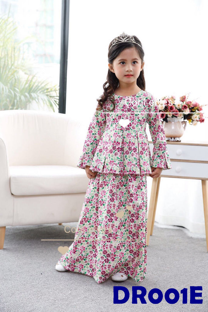 (DR001E) Raya Dress - Flower Pink