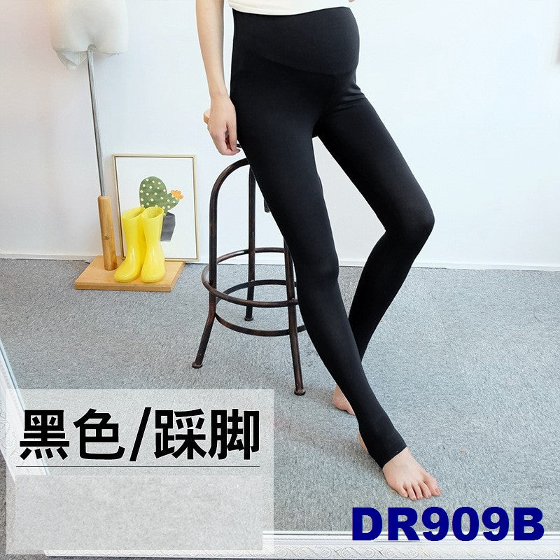 (DM909B) Maternity Stirrup Leggings - Black
