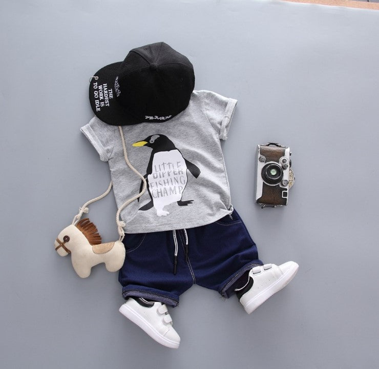 (DE007G) Boy Set - Penguin (Grey)