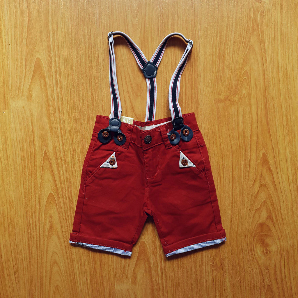 (DH013) Kid Pants with Suspender - Red