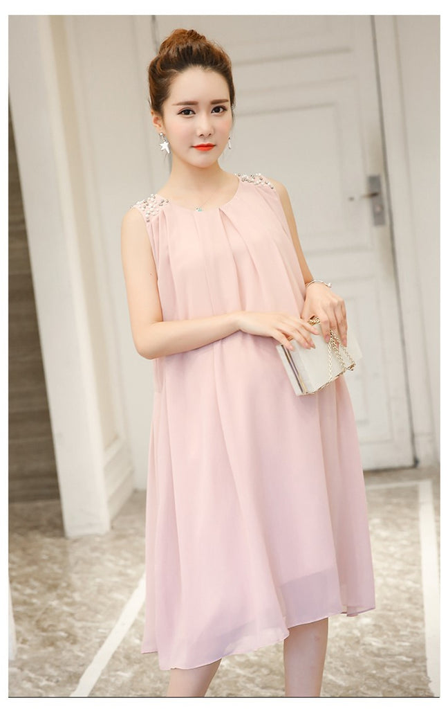 (DM140P) Maternity Sleeveless Chiffon Dress - Pink