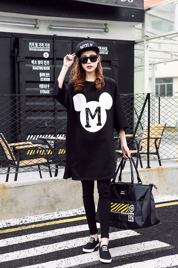 (DM141B) Maternity Midi Mickey Dress - Black