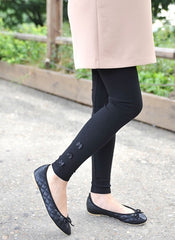 (DM902B) Maternity Leggings with 3 Little Flowers - Black
