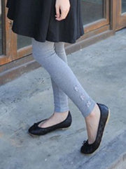 (DM902G) Maternity Leggings with 3 Little Flowers - Grey