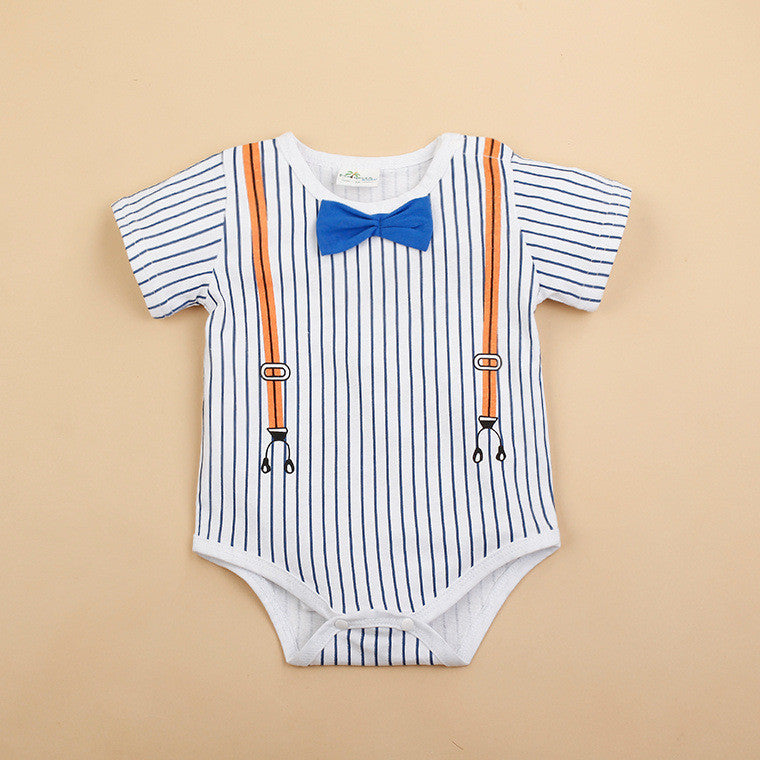 (AH-007) Rompers - Gentleman White (Blue Ribbon)