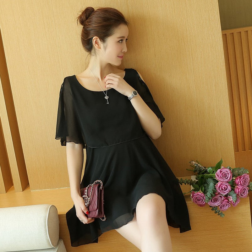 (DM143) Maternity Dolman Sleeve Chiffon Dress- Black