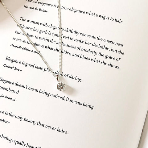 Sterling Silver Cubic Zirconia Round Pendant Necklace - Book
