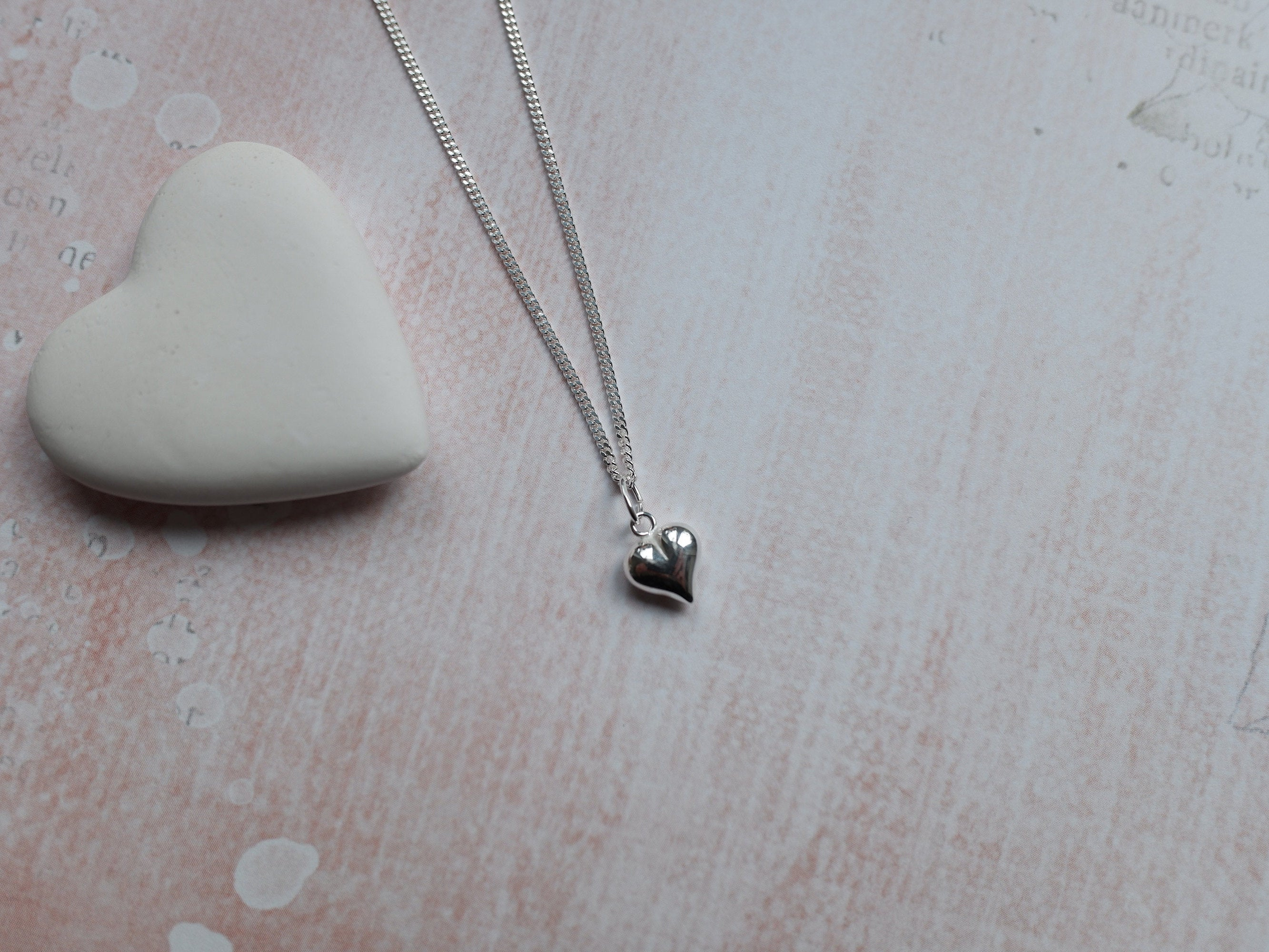 Sterling Silver Puffed Heart Charm Pendant Necklace - Diamond Cut Sterling Silver Chain - Valentines Jewellery