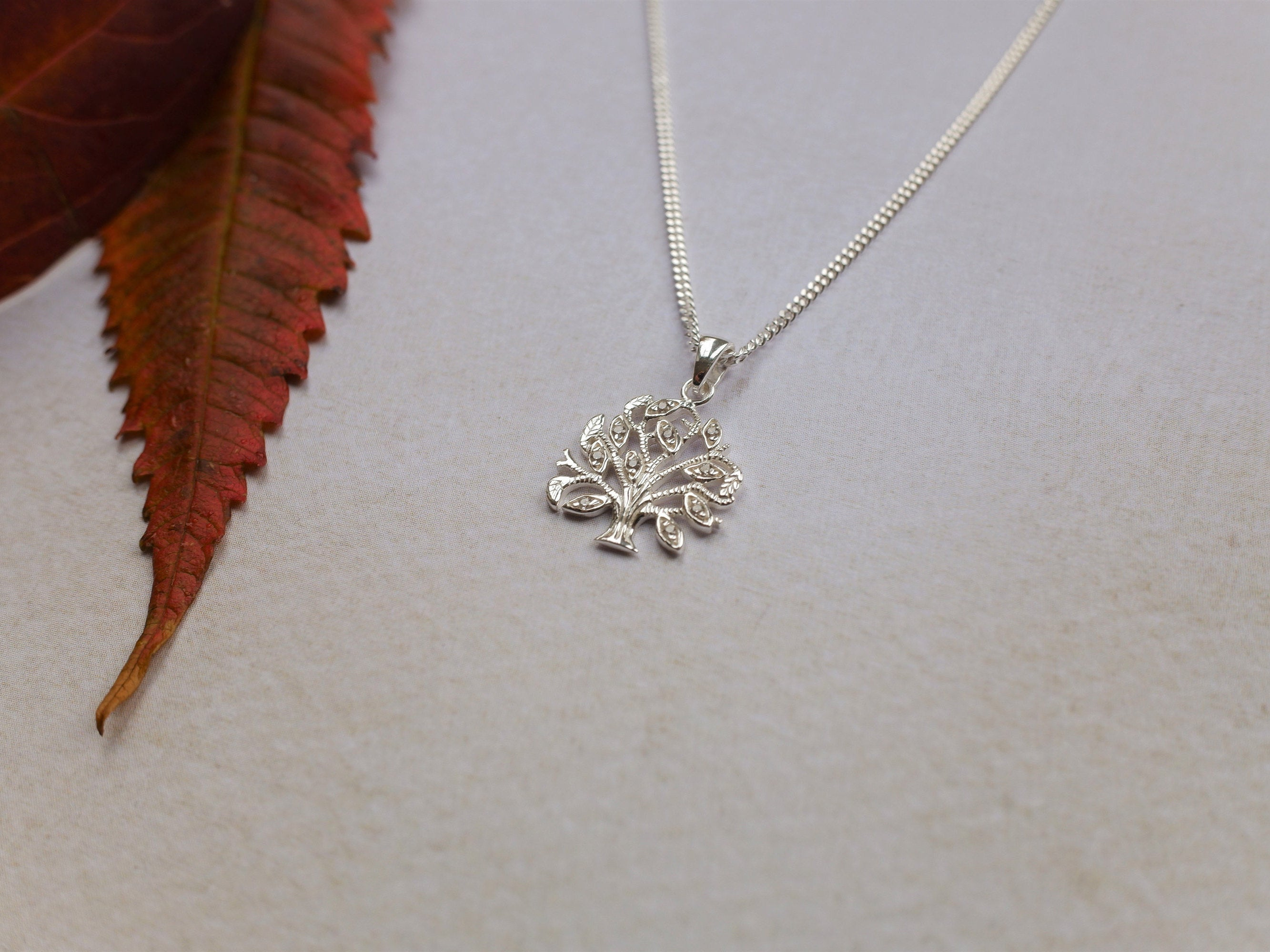 Sterling Silver Tree Of Life Jewelled Pendant Necklace - Diamond Cut Sterling Silver Chain - Boho Jewellery