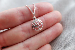 Sterling Silver Tree Of Life Charm Pendant Necklace - Diamond Cut Sterling Silver Chain - Boho Jewellery