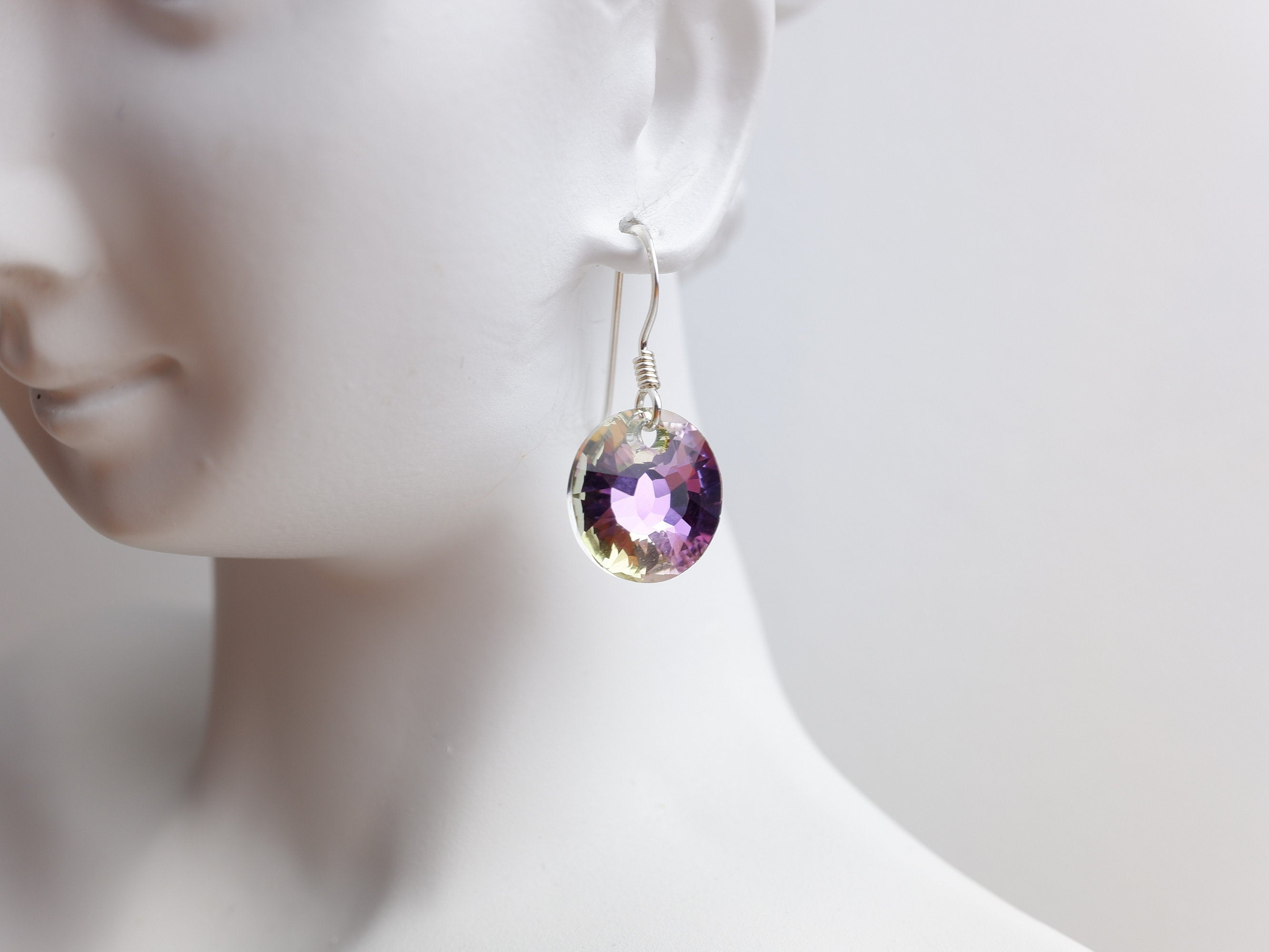 Swarovski Crystal Round Drop Earrings - Vitrail Light - Sterling Silver - Wedding Jewellery