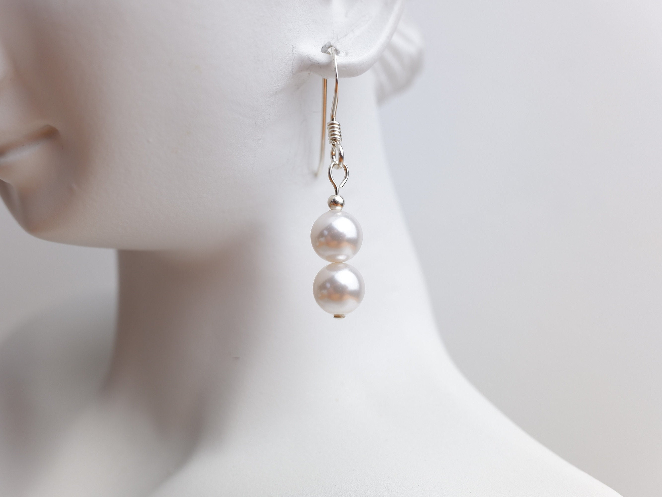 Swarovski Pearl Drop Earrings - White - Sterling Silver - Wedding Jewellery