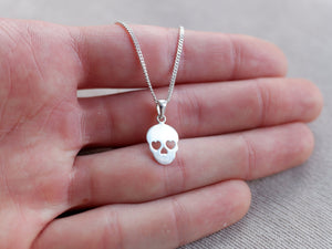 Sterling Silver Skull Charm Pendant Necklace - Diamond Cut Sterling Silver Chain - Gothic Jewellery