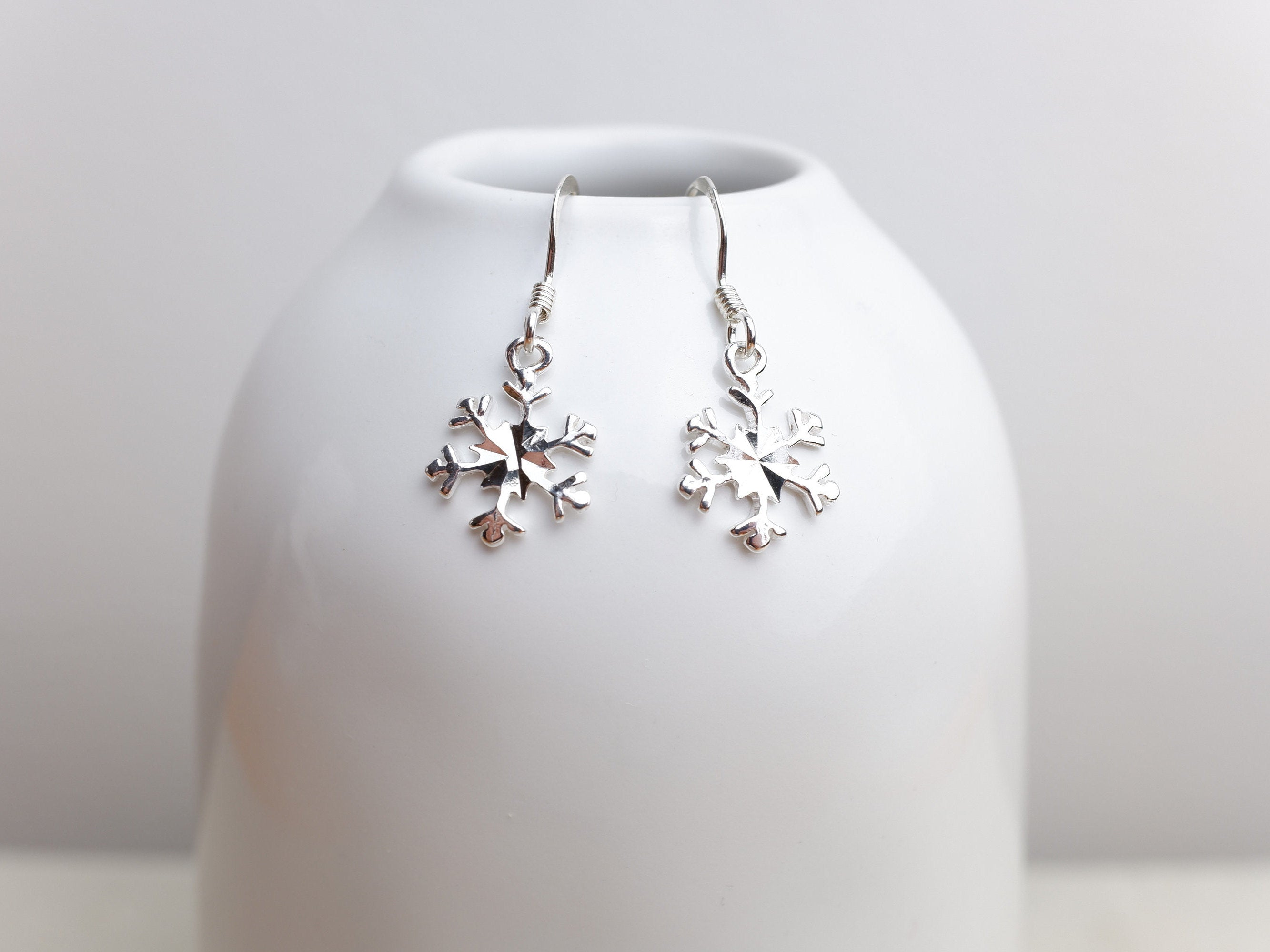 Sterling Silver Snow Flake Charm Drop Earrings - 925 - Christmas Jewellery
