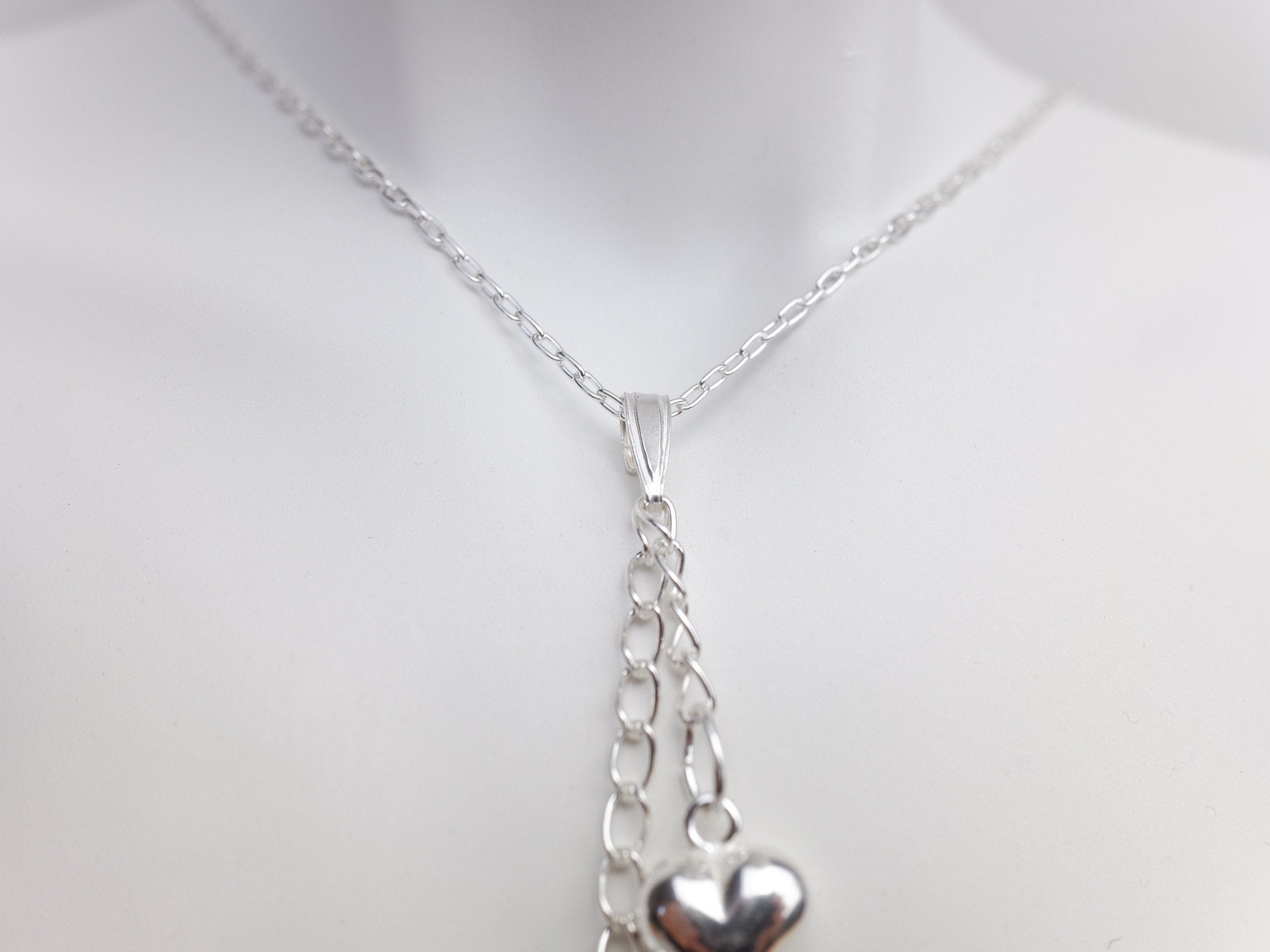 Sterling Silver Double Puffed Heart Charm Pendant Necklace - Sterling Silver Cable Chain - Minimalist Jewellery