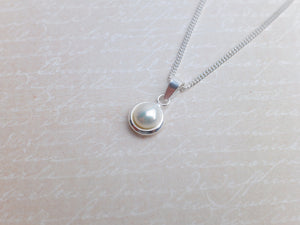 Sterling Silver Freshwater Pearl Pendant - White - Diamond Cut Sterling Silver Chain - Wedding Jewellery