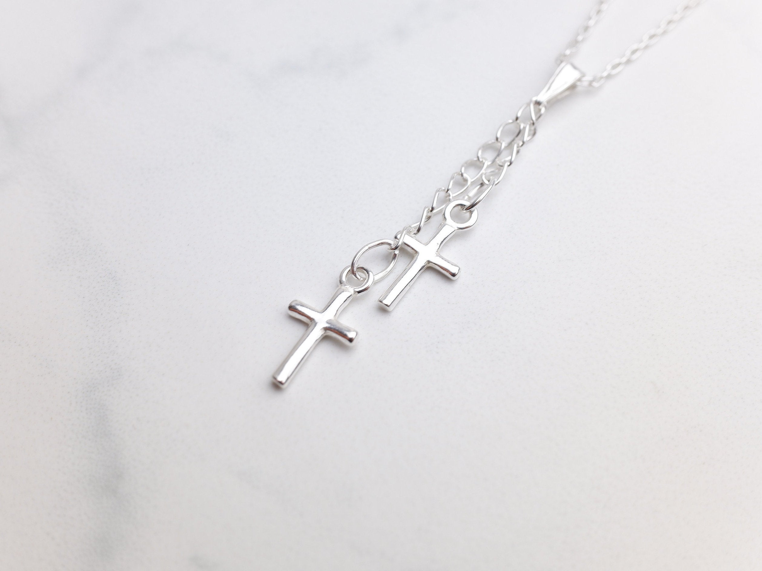 Sterling Silver Double Cross Charm Pendant Necklace - Sterling Silver Cable Chain - Christmas Jewellery