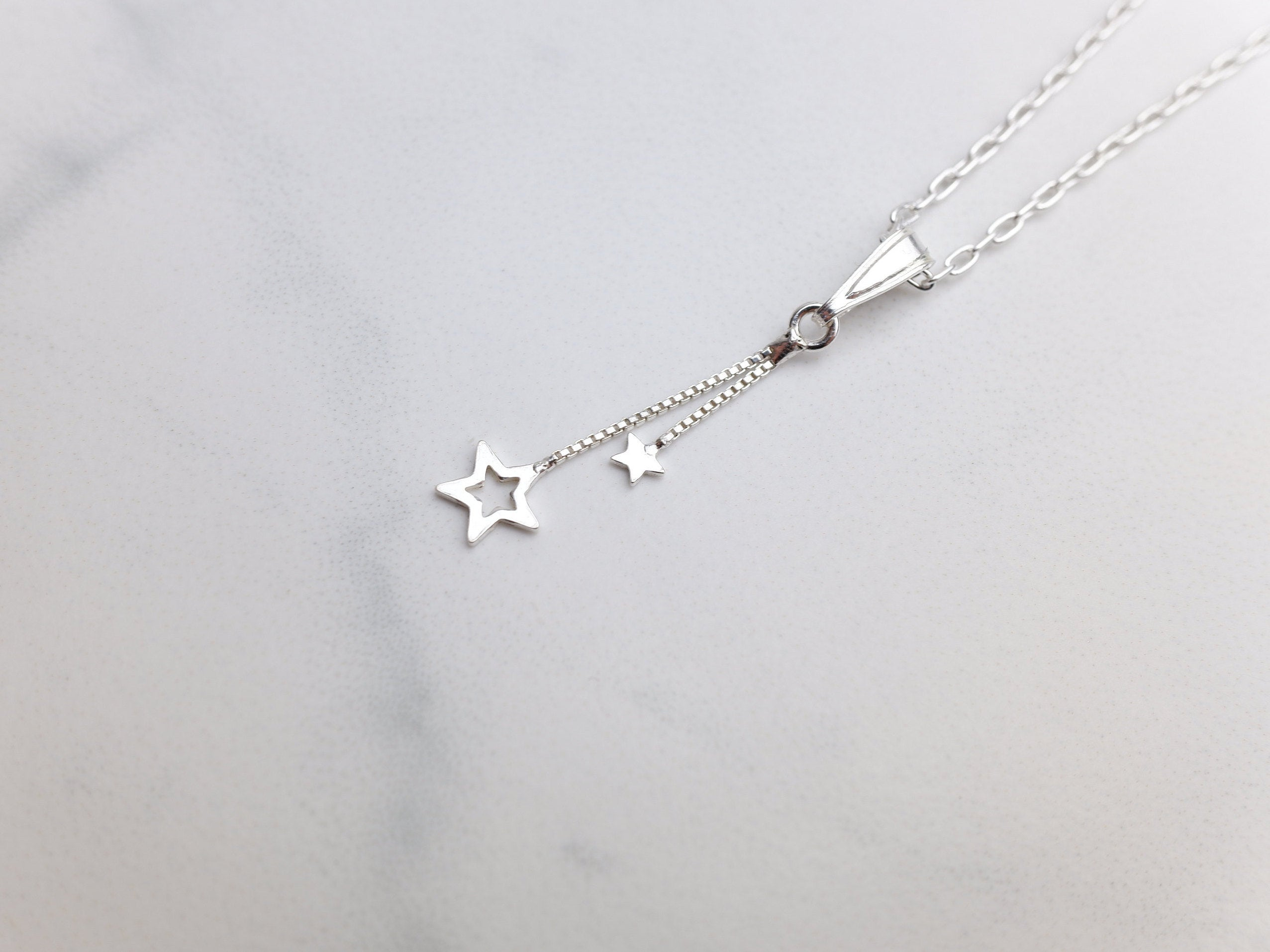 Sterling Silver Double Star Charm Pendant Necklace - Sterling Silver Cable Chain - Christmas Jewellery