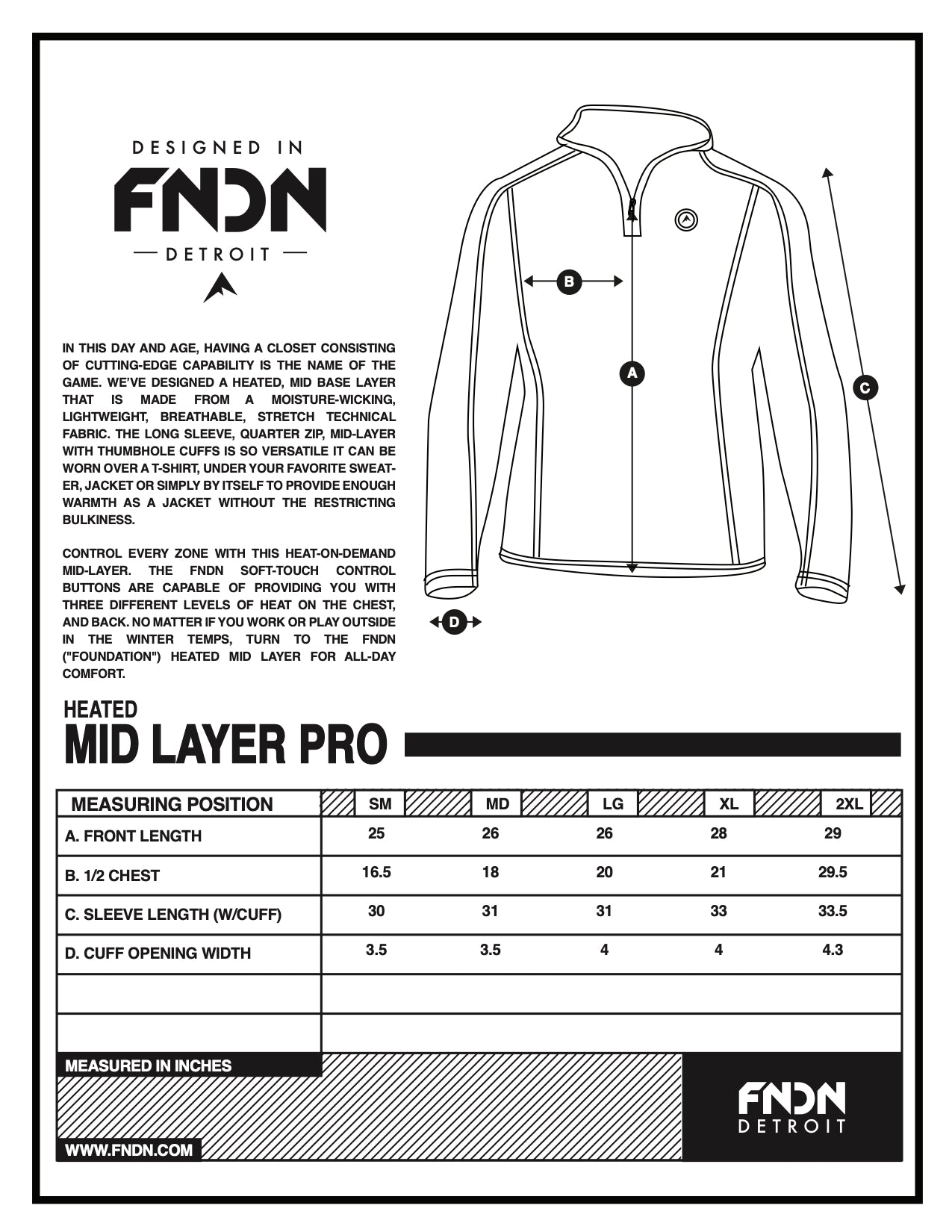 Mid Layer Sizing Chart