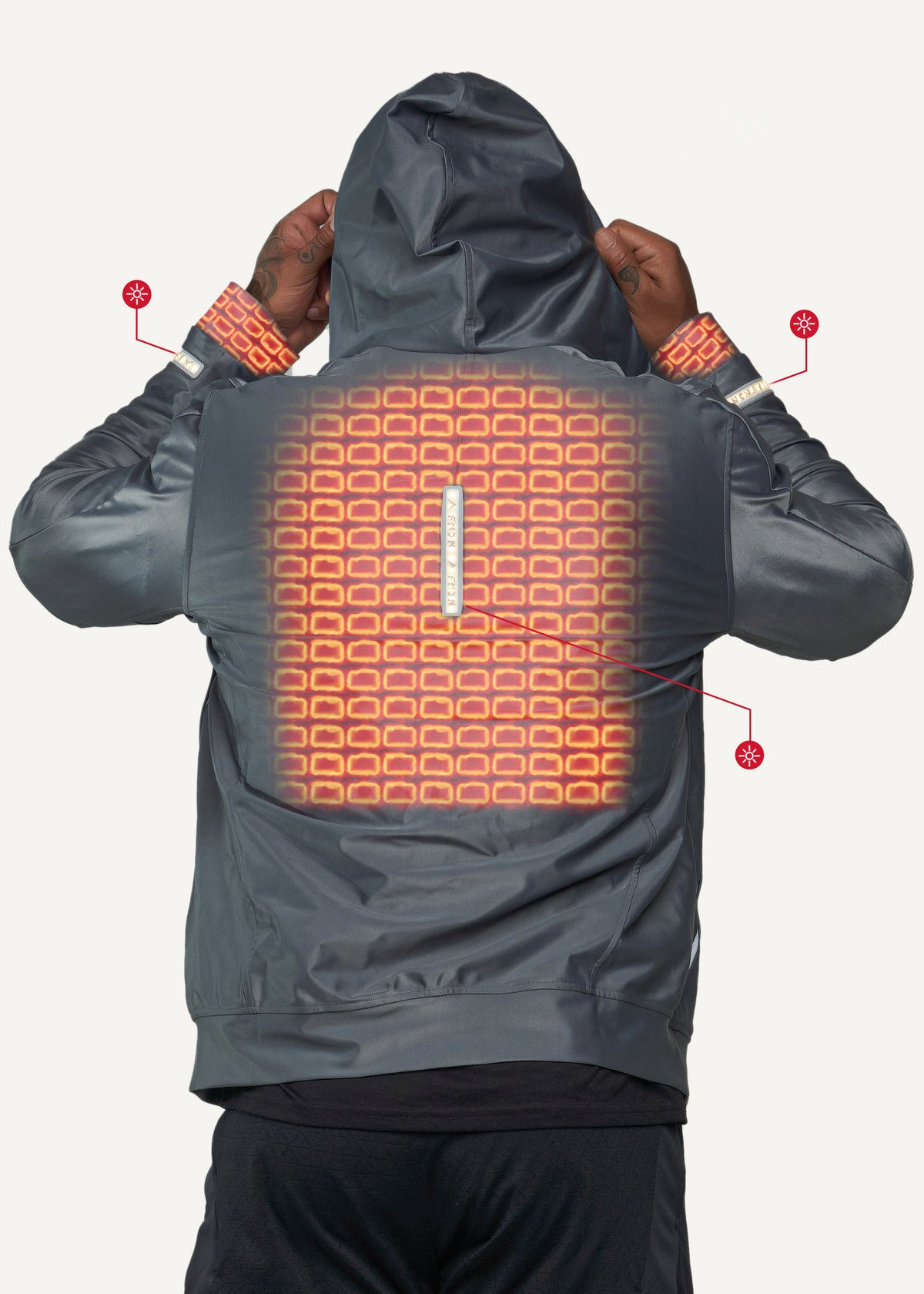 FNDN Heated LED Athletic Jacket w/ Built-In Heated Gloves