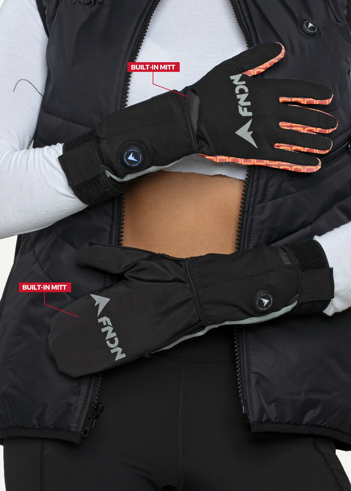 FNDN 3.7V Heated Liner Glove with Mitt